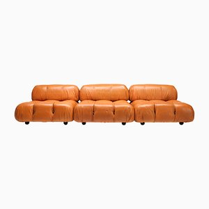 Vintage Cognac Leather Camaleonda Sofa by Mario Bellini for C&B Italia, 1970s