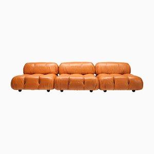 Vintage Cognac Leather Camaleonda Sofa by Mario Bellini for C&B Italia, 1970s