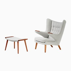 Scandinavian Modern Papa Bear Chair & Ottoman Set by Hans J. Wegner for A.P. Stolen, 1953