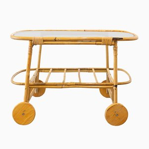 Vintage Glass and Bamboo Garden Serving Trolley, 1970s