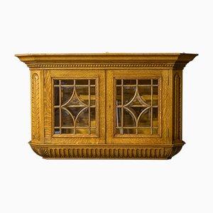 Mueble de pared eduardiano antiguo de roble