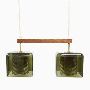 Lampe à Suspension Dual Vintage en Laiton et Verre par Carl Fagerlund pour Orrefors, Suède, 1960s
