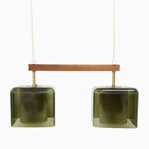 Vintage Swedish Brass & Glass Dual Pendant Lamp by Carl Fagerlund for Orrefors, 1960s