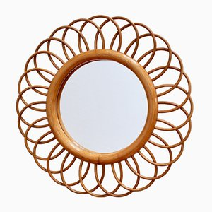 Mid-Century French Rattan Flower-Shaped Wall Mirror , 1960s