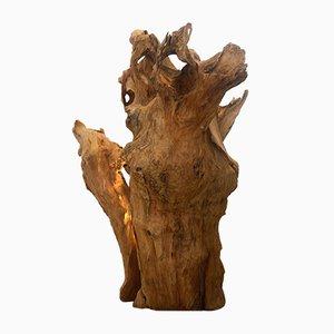 Lámpara de pie artesanal de madera de Suite Contemporary