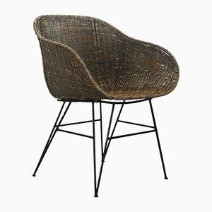Silla de comedor artesanal de hierro y ratán de Suite Contemporary, 2019