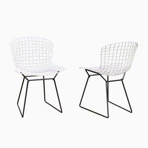 Sedie nr. 420 Mid-Century in acciaio bianco e nero di Harry Bertoia per Knoll Inc. / Knoll International, set di 2