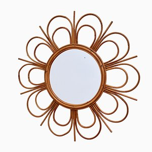 Mid-Century French Rattan Flower-Shaped Wall Mirror, 1960s