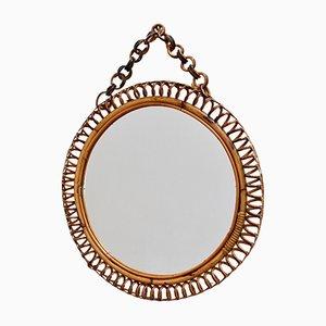 Mid-Century Italian Round Rattan Wall Mirror, 1960s