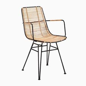 Chaise de Salle à Manger Artisanale en Rotin et Acier de Suite Contemporary, 2019
