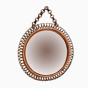 Mid-Century Italian Round Rattan Wall Mirror
