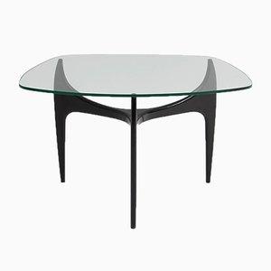 Tavolino da caffè in vetro e legno di Jos de Mey per Luxus, anni '50