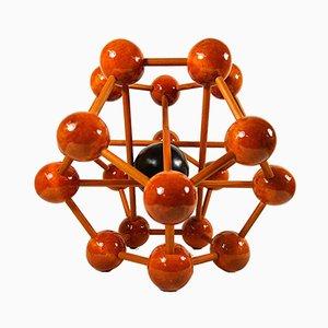 Modello di atomo Mid-Century in legno, anni '60