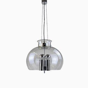 Deutsche Deckenlampe aus Chrom & mundgeblasenem Glas von Glashütte Limburg, 1970er