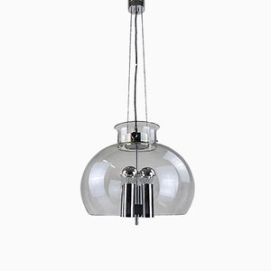 German Chrome and Mouth-Blown Glass Ceiling Lamp from Glasshütte Limburg, 1970s