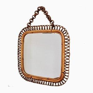 Quadratischer italienischer Mid-Century Spiegel mit Rattanrahmen