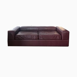 Vintage Italian Leather Sofa by Tito Agnoli, 1970s