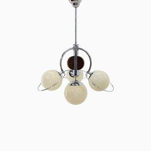 Lámpara de araña Art Déco vintage de hierro y vidrio, años 30