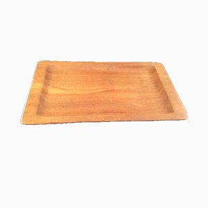 Large Brutalist French Teak Tray by Alexandre Noll, 1950s