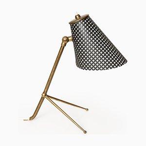 Lampada da tavolo in ottone e metallo laccato nero, anni '50