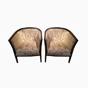 Art Deco Style Wood and Velvet Armchairs, 1940s, Set of 2