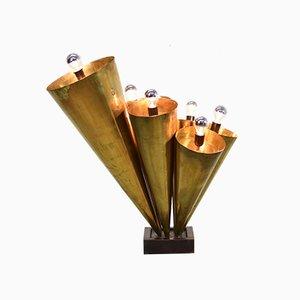 Mid-Century Brass Expo 58 Trumpet Floor Lamp, 1950s