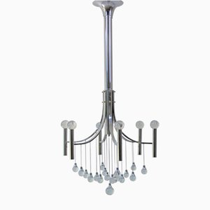 Italian Chrome Plated Crystal Chandelier by Gaetano Sciolari, 1960s