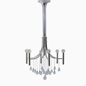 Lámpara de araña italiana de cromado y cristal de Gaetano Sciolari, años 60