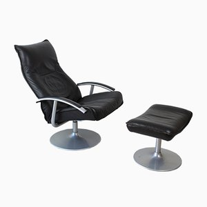 Leather and Metal Lounge Chair & Ottoman Set from Kebe, 1970s