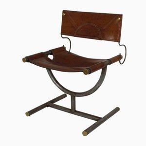 Chaise d'Appoint Artisanale en Laiton et Cuir, 1960s