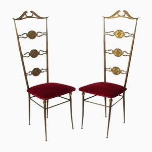 Italienische Stühle mit Gestell aus Messing und Samtsitz, 1950er, 2er Set