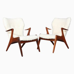 Lounge Chairs in Sheepskin by Kurt Østervig, Set of 2