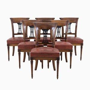 Sedie in stile Direttorio vintage in mogano, set di 6
