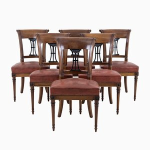Vintage Directoire Style Mahogany Side Chairs, Set of 6