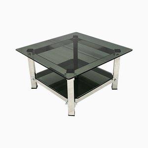 Mesa de centro italiana vintage de aluminio y vidrio, años 70