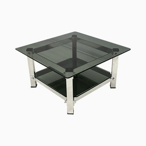 Vintage Italian Aluminum and Glass Coffee Table, 1970s