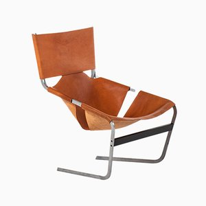 Leather and Steel Model F-444 Easy Chair by Pierre Paulin for Artifort, 1960s