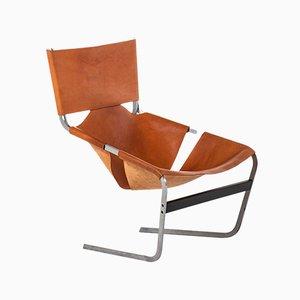Sessel mit Lederbespannung & Stahlgestell von Pierre Paulin für Artifort, 1960er