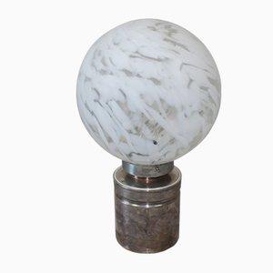 Lámpara de mesa italiana de vidrio y cromado, años 60