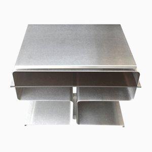 Tavolino modernista in metallo di Francois Monnet per Kappa, Francia, anni '70
