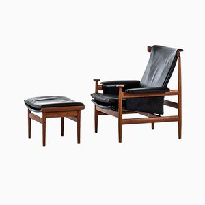 Danish Lounge Chair & Ottoman Set by Finn Juhl for France & Søn, 1960s