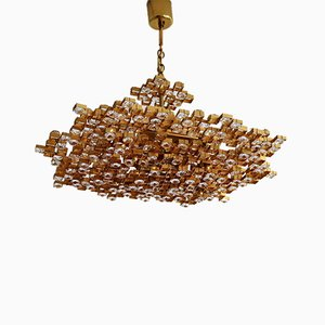 German Brass and Gold Plating Chandelier from Palwa, 1970s
