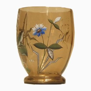 Vintage Art Deco French Crystal and Enamel Vase, 1930s