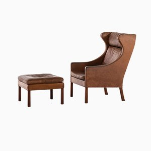 Danish Leather & Teak Model 2204 Lounge Chair & Model 2202 Ottoman Set by Børge Mogensen for Fredericia, 1950s