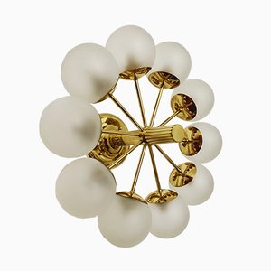 German Brass and Etched Glass Ceiling Lamp from Kaiser Idell, 1960s