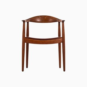 Danish Leather & Teak JH-501 Armchair by Hans Wegner for Johannes Hansen, 1940s