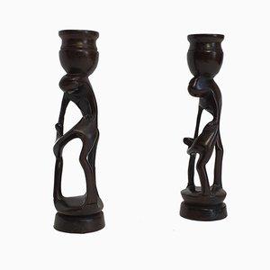 Minimalist Ebony Candleholders, 1960s, Set of 2