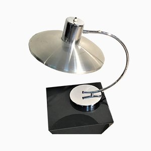 Lámpara de mesa era espacial de acero, años 60