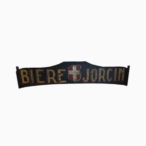 Französisches Brauereischild aus Holz, 19. Jh.