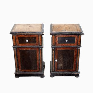 Antique Fir and Veneer Nightstands, Set of 2